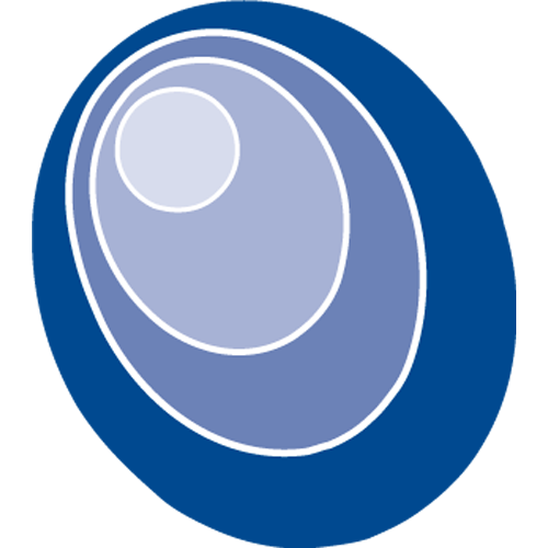 three ovals enveloping one circle in hues of blue
