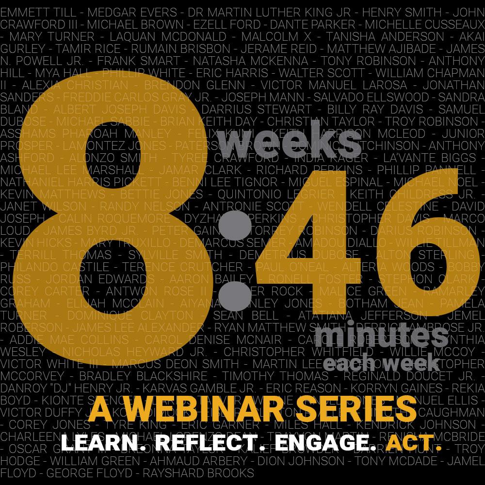 8:46 minutes each week logo for a webinar series